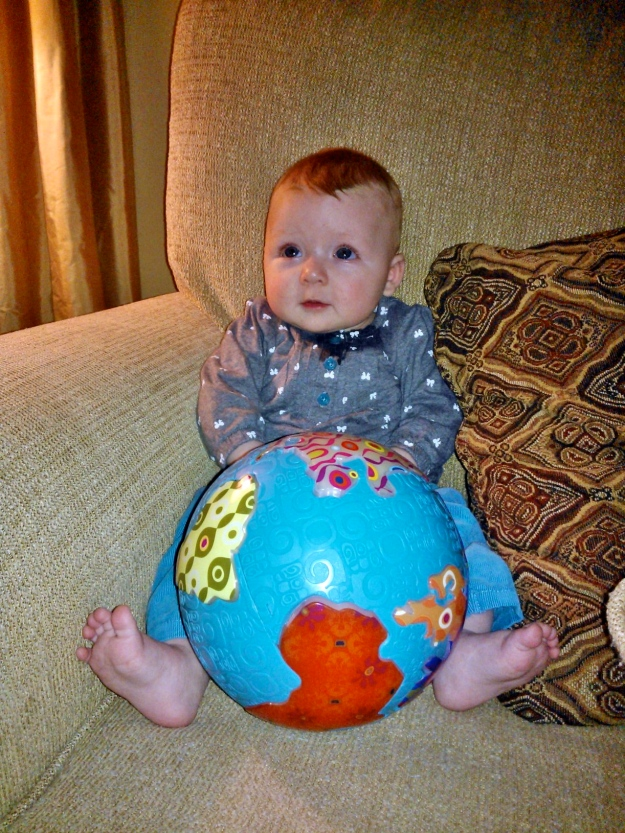 Eleanor got a B. Global Glowball for Christmas from her Auntie Karen. Now she's really got the whole world in her hands.